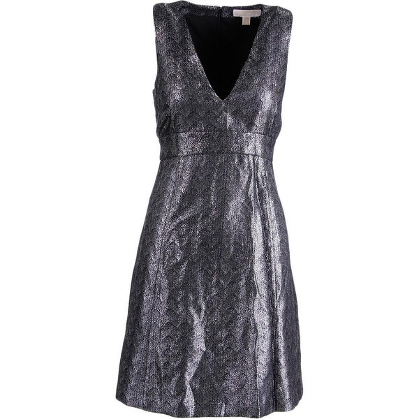 MICHAEL Michael Kors Womens Cocktail Dress Metallic Sleeveless