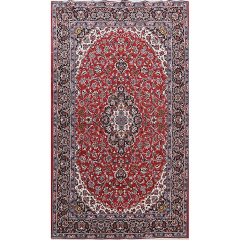 "Decorative Red Floral Kashan Oriental Area Rug Traditional Carpet - 6'4"" x 9'8"""