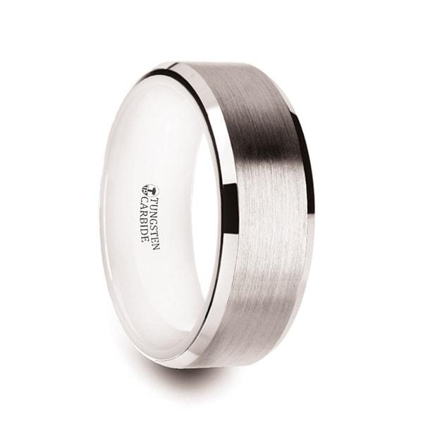THORSTEN - ANTARES White Tungsten Brushed Center Men's Wedding Ring with Polished Beveled Edges & White Interior