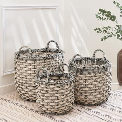 Valeria Round Resin Plant Pot and Laundry Baskets with Handles