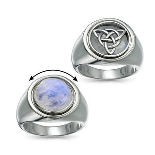 Silver Celtic Knot Moonstone Reversible Flip Ring