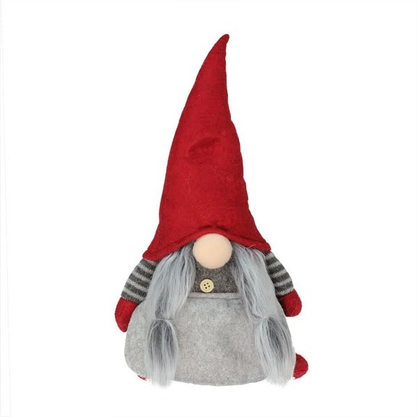 """11"""" Red and Gray """"Elderly Edna"""" Santa Gnome Table Top Christmas Figure"""