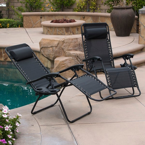 Belleze Zero Gravity Lounge Black Patio Chairs Device Slot Cup Holder Utility Tray Beach Pool Uv