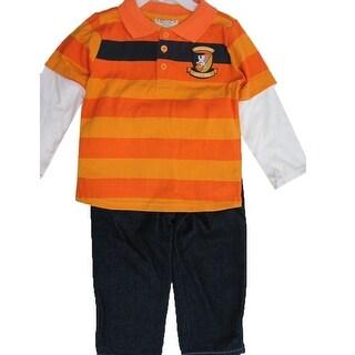 Carter's Little Boys Orange Stripe Applique Detail 2 Pc Pant Set