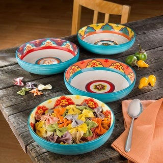 Link to Euro Ceramica Galicia Multicolored/Assorted 40 oz Pasta Bowl (Set of 4) Similar Items in Dinnerware