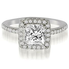 1.00 cttw. 14K White Gold Princess And Round Cut Diamond Halo Engagement Ring