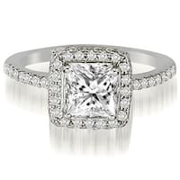 1.25 cttw. 14K White Gold Princess And Round Cut Diamond Halo Engagement Ring