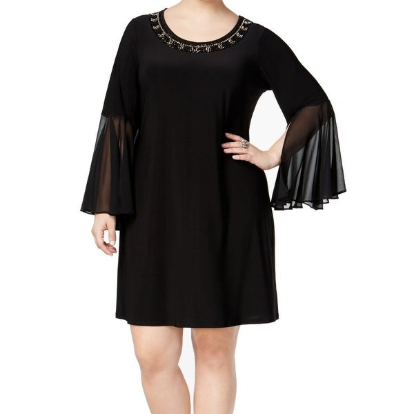 18d461e1b24f2 Shop MSK NEW Black Womens Size 2X Plus Embellished-Neckline Sheath Dress - Free  Shipping On Orders Over  45 - Overstock.com - 17790976