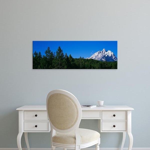 Easy Art Prints Panoramic Image 'Trees, Cathedral Group, Jackson Hole, Grand Teton National Park, Wyoming' Canvas Art