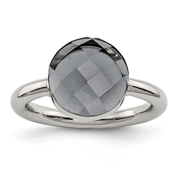 Chisel Stainless Steel Polished Grey Glass Ring