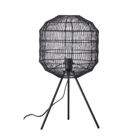 Oval Paper Rope Table Lamp with Metal Tripod Legs