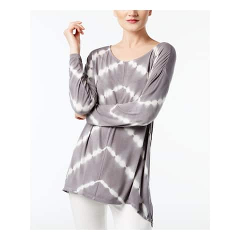 INC Womens Gray Printed Dolman Sleeve Jewel Neck Top Size XS