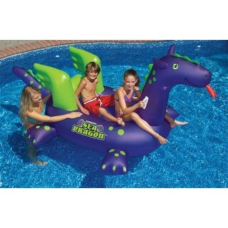 """89"""" Water Sports Inflatable Sea Dragon Swimming Pool Ride On Float Toy - Purple"""