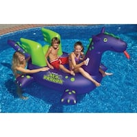 "89"" Water Sports Inflatable Sea Dragon Swimming Pool Ride On Float Toy - Purple"