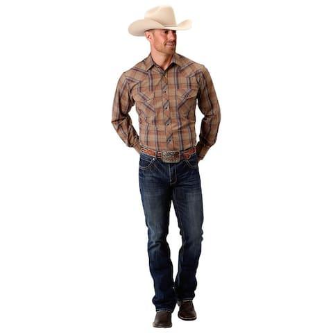 Roper Western Shirt Mens Snap L/S Tall Tan