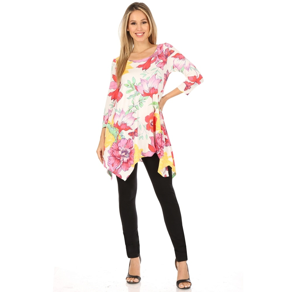 Floral Scoop Neck Tunic Top - White/Pink