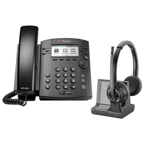 Polycom VVX 311 Corded Voice Over IP Phone with Plantronics Savi W8220 Wireless Headset