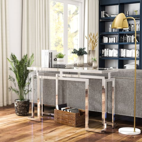 Furniture of America Pelmont Contemporary Glass Top 52-inch Sofa Table