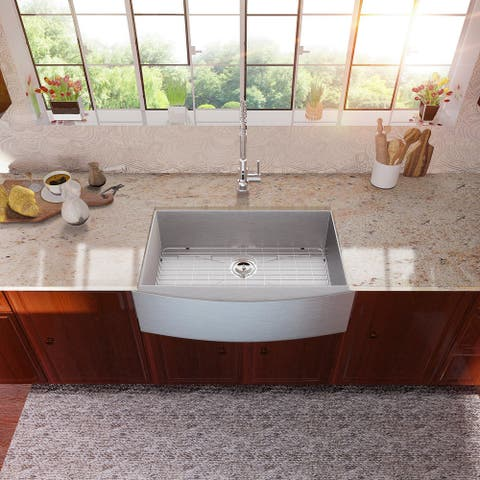 Lordear 36 Inch Farmhouse Kitchen Sink Stainless Steel Single Bowl Sink