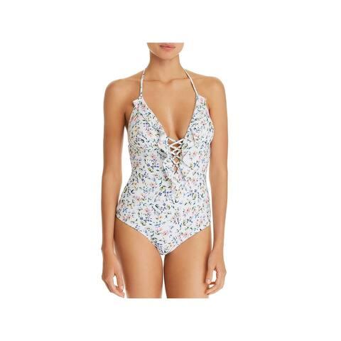 Shoshanna Womens Lattice Ruffle One-Piece Swimsuit