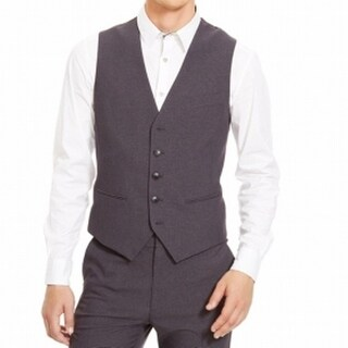 Kenneth Cole Reaction NEW Gray Mens Size 2XL Grid-Print Mock Pocket Vest