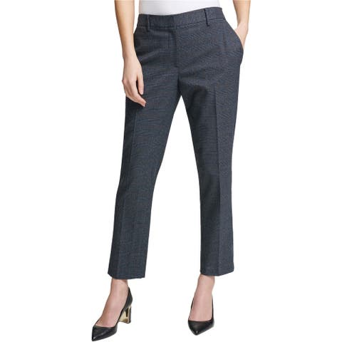 DKNY Womens Plaid Casual Trouser Pants, Blue, 12