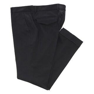 Gucci Solid Black Cotton Blend Cuffed Slim Trousers - 38