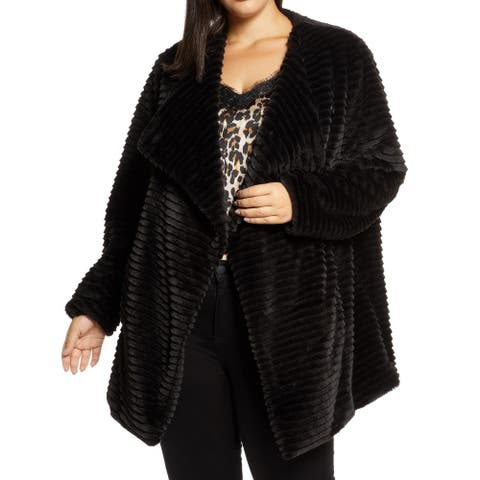 BB Dakota Women's Jackets Black Size 3X Plus Faux-Fur Wide-Lapel
