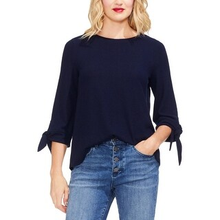 Vince Camuto Womens Tie Sleeves Sheer Pullover Top