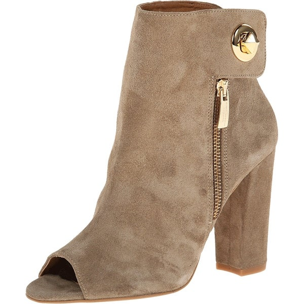 Kurt Geiger NEW Beige Shoes Size 10M Open Toe Suede Bootie Heels