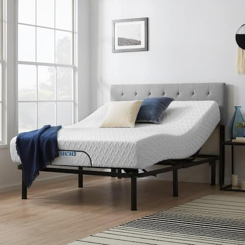Lucid Comfort Collection 10-inch Gel Memory Foam Mattress and Standard Adjustable Bed Set