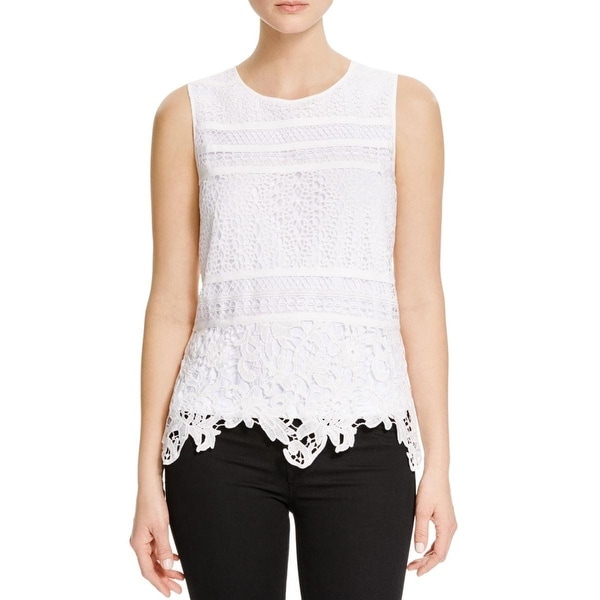 Calvin Klein Womens Casual Top Lace Sleeveless