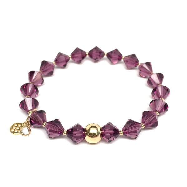 "February Birthstone Color Purple Crystal Rachel 7"" Bracelet"