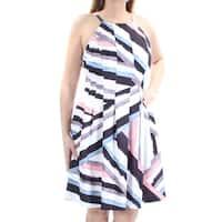 VALIA Womens Pink Pleated Printed Sleeveless Jewel Neck Knee Length Dress  Size: 14