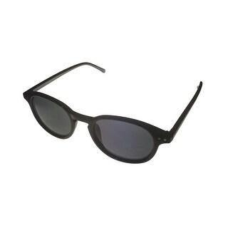 Perry Ellis Mens Sunglass PE25 2 Black Plastic Round Nerd, Smoke Lens - Medium