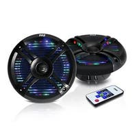 6.5'' Waterproof Audio Marine Grade Dual Speakers with Built-in Programmable Multi-Color LED Lights, 250 Watt, Black