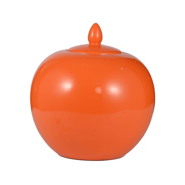 "11"" Orange Contemporary Lidded Small Jar - N/A"