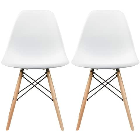 Set of 2 Designer Plastic Eiffel Chairs Solid Wood Legs Retro Dining Molded Shell Hotel Dowel For Kitchen Bedroom Work