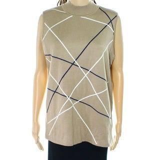 Alfani NEW Beige Women's Size XS Ribbed Mock Neck Striped Vest Sweater