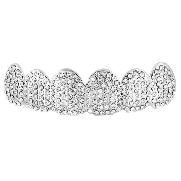 Fully Iced Out Top Grillz Simulated Diamonds White Gold Finish On Sale