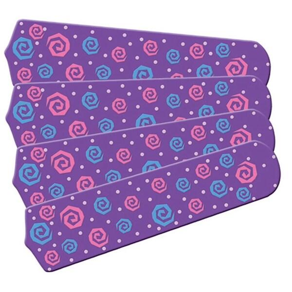 Purple Swirly Dot Designer 42in Ceiling Fan Blades Set - Multi