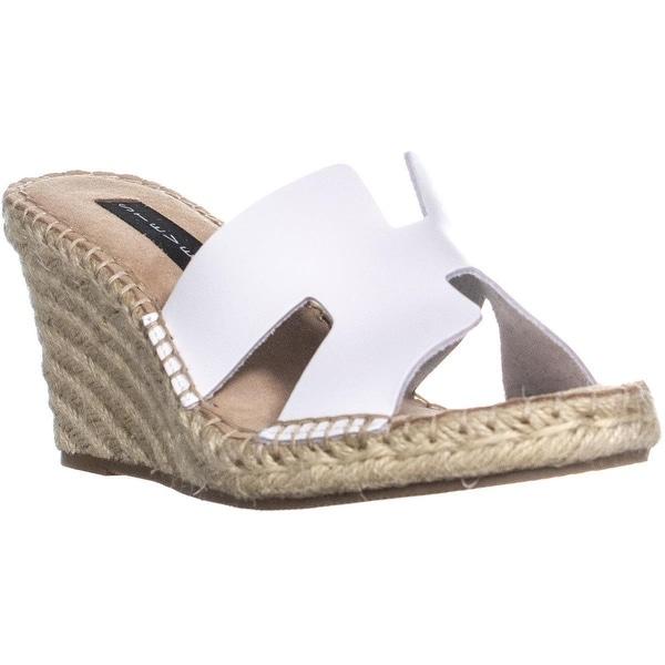 93f87a392f2 Shop STEVEN Steve Madden Eryk Wedge Sandals, White Leather - 7.5 us ...