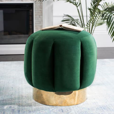 Safavieh Couture Maxine Channel Tufted Otttoman - Emerald / Gold