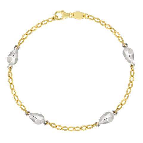 """Forever Last 10 K Gold Bonded over Silver 2 Tone 7.5"""" Nugget Bracelet"""