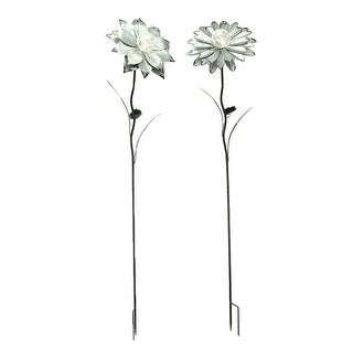 Set of 2 Galvanized Zinc Finish Flower Solar Light Garden Stakes