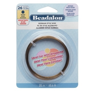 Beadalon Craft Wire, German Style Round Copper Wire 26 Gauge, 65.6 Feet, Antiqued Brass Color
