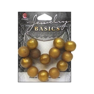Cousin Bead Resin Round 14mm Gold 13pc