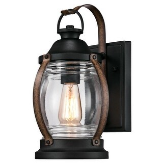 "Westinghouse 6335100 Canyon 1-Light 12-3/8"" Tall Outdoor Wall Sconce - Textured Black/Barnwood - N/A"