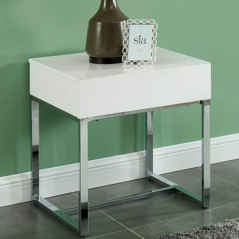Furniture of America Vincini Modern White Wood Rectangle End Table