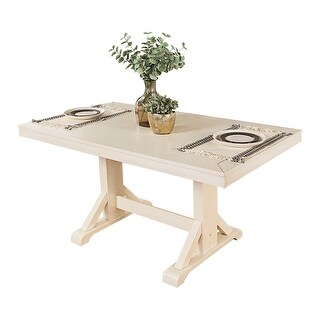 """Offex 60"""" Millwright Wood Kitchen Dining Table - Antique White"""